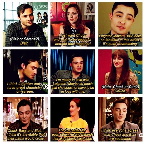 Ed and Leighton talking Chuck and Blair ♥