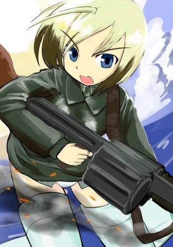 Strike Witches achtergrond with a jager, schutter and a green beret, baret titled Erica Hartmann