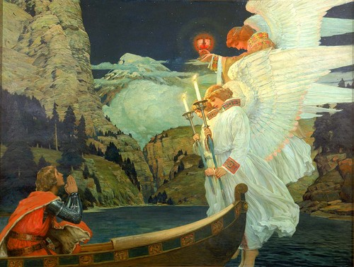 Fine Art wallpaper entitled Frederick J. Waugh - The Knight of the Holy Grail, 1912