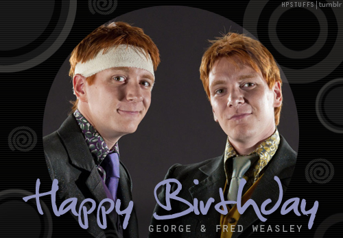 Harry Potter wallpaper containing a business suit, a dress suit, and a suit titled Happy Birthday George and Fred!