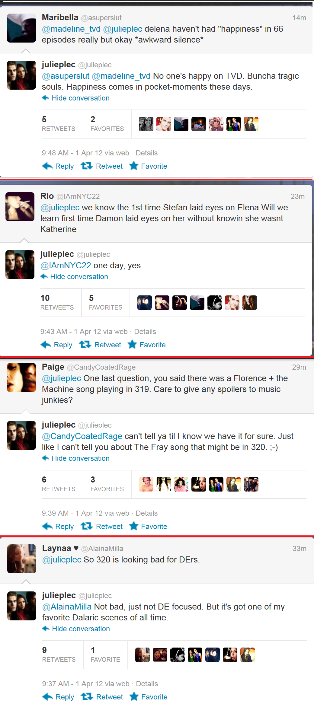 Julie Plec on Damon&Elena ~Twitter~