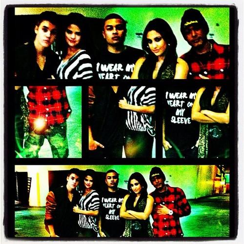 Justin Bieber, Selena Gomez, Alfredo Flores and Francia Raisa