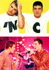 Justin Timberlake and JC Chasez Hintergrund titled Justin Timberlake and JC Chasez