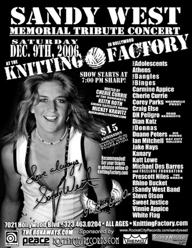 Sandy West Memorial Flyer - 2006