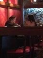 Selena and Justin at a restaurant today April 1