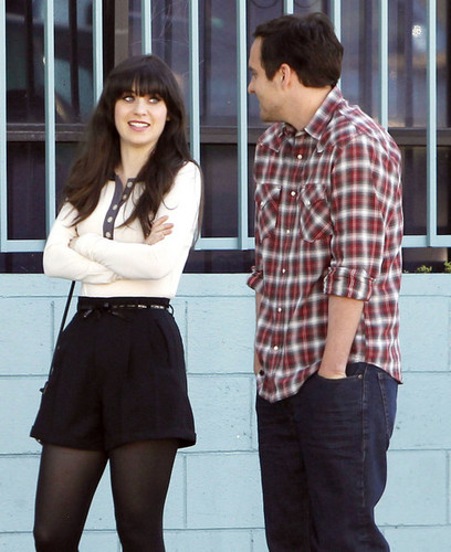 """Stars On The Set Of """"New Girl"""" In Los Angeles"""