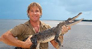 Steve Irwin with a baby मगरमच्छ