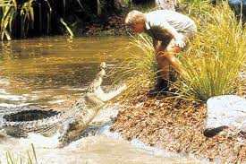 Steve with an angry croc
