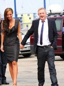 Tulisa Contostavlos wallpaper containing a business suit entitled Tulisa with Louis Walsh