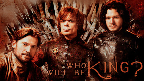 Game of Thrones wallpaper possibly with a sign called Who Will Be King?