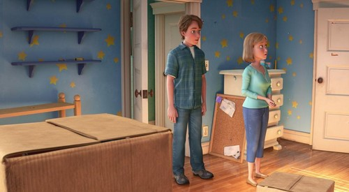 Toy Story 3 fond d'écran with a living room titled Andy and his Mother