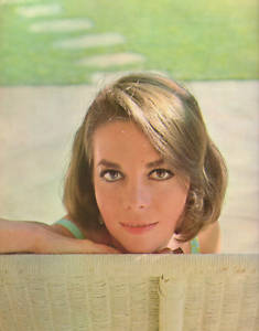 Natalie Wood Hintergrund probably with a packing box and a basket titled Around 1960s