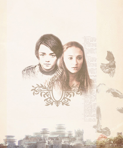 Stark children wallpaper possibly with a sign titled Arya & Sansa