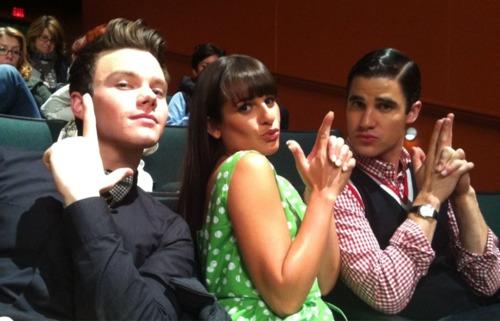 Chris, Lea & Darren on set