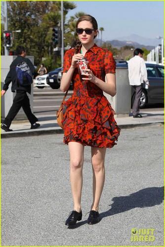 Emmy Rossum: Red Dress Coffee Run