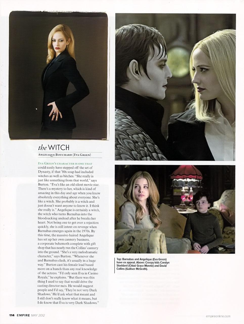 Empire Magazine May 2012 Scans ~ Dark Shadows artikulo