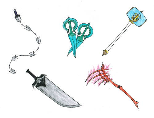 My fancharacter's weapons