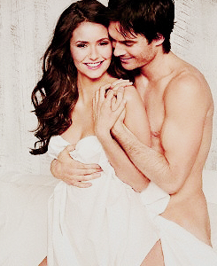 the vampire diaries tv tampil wallpaper containing skin titled Nina Dobrev + Ian Somerhalder <3