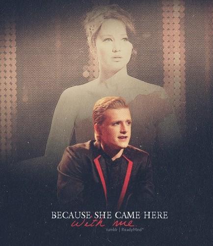 Peeta Mellark and Katniss Everdeen kertas dinding with a business suit called Peeta and Katniss... ♥