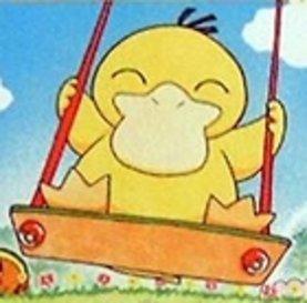 Psyduck on a hayun, swing