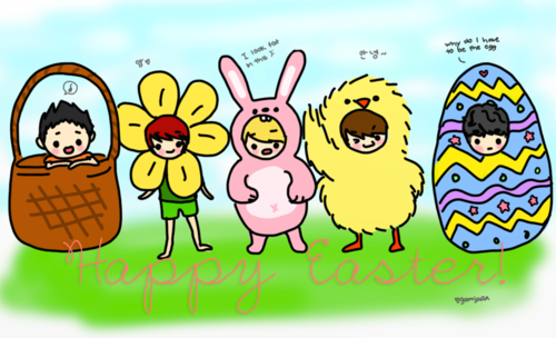 Shinee wallpaper probably with anime titled SHINee Chibi Easter Fanart