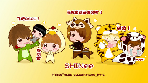 Shinee kertas dinding probably with Anime titled SHINee Cute Chibi