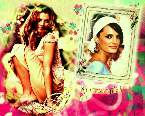 Stana Katic among the お花