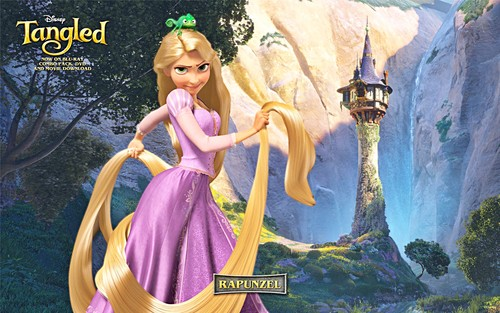 Walt Disney Characters wallpaper possibly with a dinner dress, a gown, and a bridesmaid entitled Walt Disney Wallpapers - Princess Rapunzel & Pascal