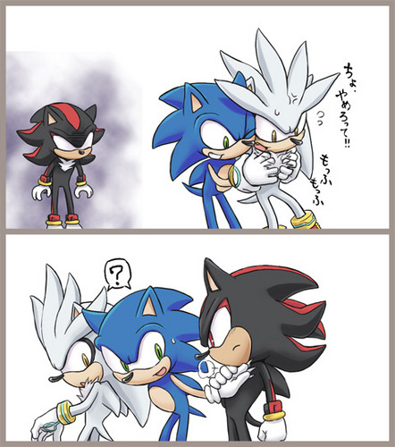 Sonic the Hedgehog wallpaper probably containing Anime titled silver vs shadow-sonic
