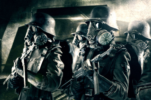 Iron Sky achtergrond probably with a gasmask entitled troopers