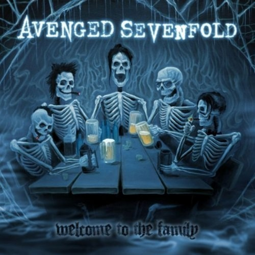Avenged Sevenfold wallpaper possibly containing a sign and anime entitled welcome to the family album cover