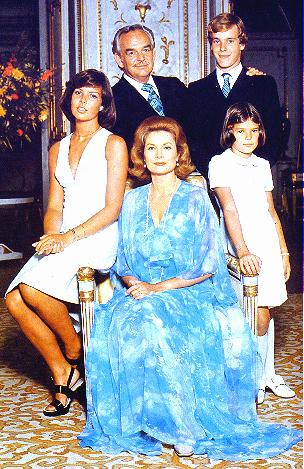 Princess Caroline, Prince Albert, and Princess Stephanie ,Prince Rainier III