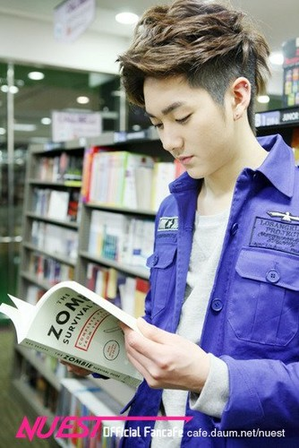 NU'EST wallpaper with a bookshop titled Aron