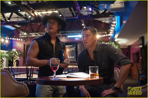 Channing Tatum wallpaper with a brasserie, a bistro, and a dinner table titled Channing Tatum & Matt Bomer: 'Magic Mike' Stills!