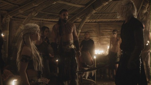 Daenerys and Drogo with Viserys
