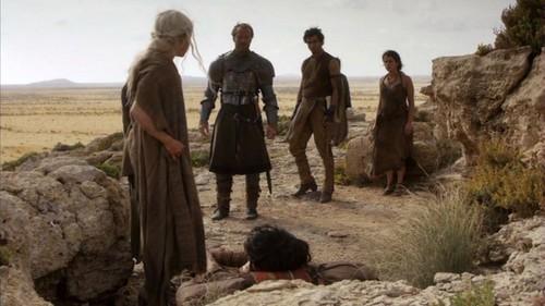 Daenerys and Jorah with Dothraki