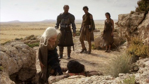 Daenerys and Jorah with Irri and Rakharo