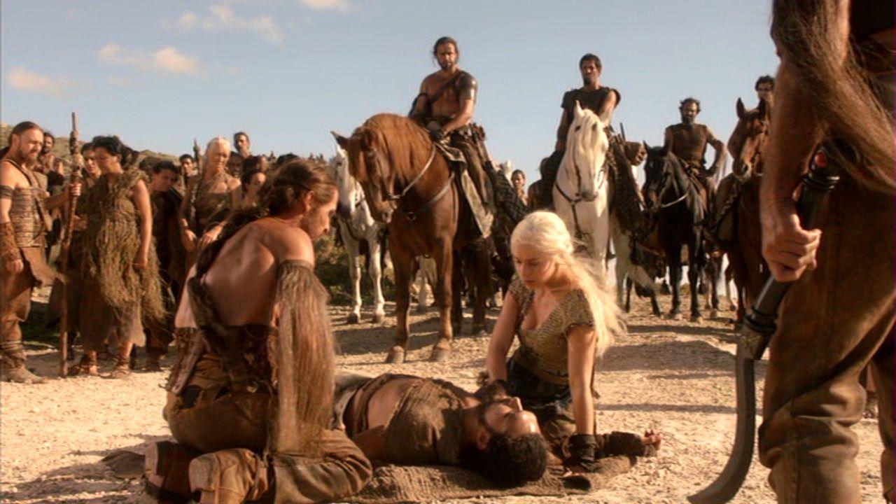 Drogo and Daenerys with Dothraki