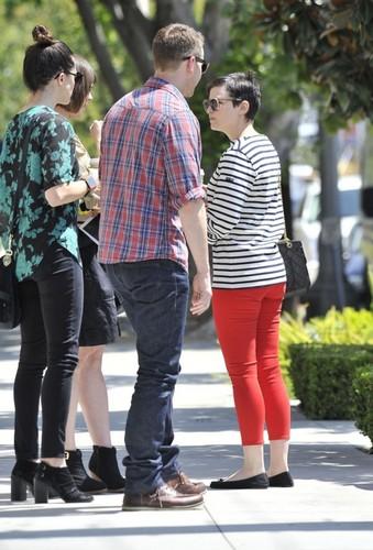 Ginny&Josh Leaving higo, fig 'n' aceituna, oliva in West Hollywood , APRIL 10, 2012