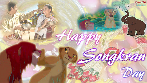 Happy Songkran siku Festival with Lion King
