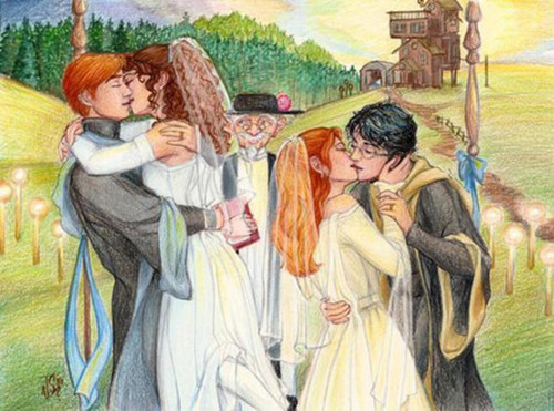 Harry+Ginny and Ron+Hermione double wedding :)