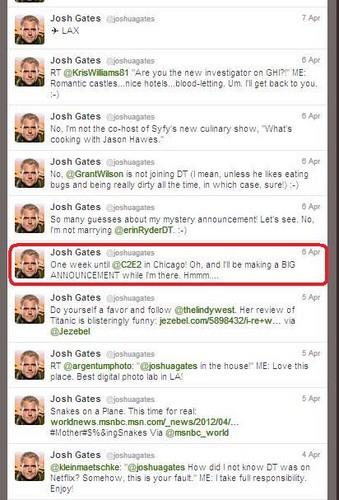 Josh Gates tweets about announcement