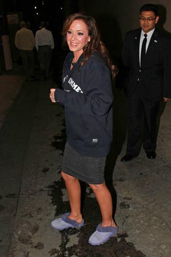 """Leah Remini Leaves the """"Jimmy Kimmel Live"""" Studios 2010"""