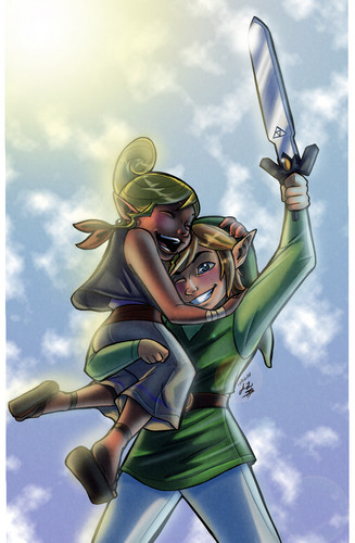 The Legend of Zelda wallpaper probably containing anime entitled Link and Tetra