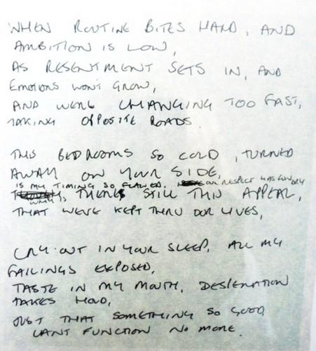 tình yêu Will Tear Us Apart - Ian Curtis' original handwriting