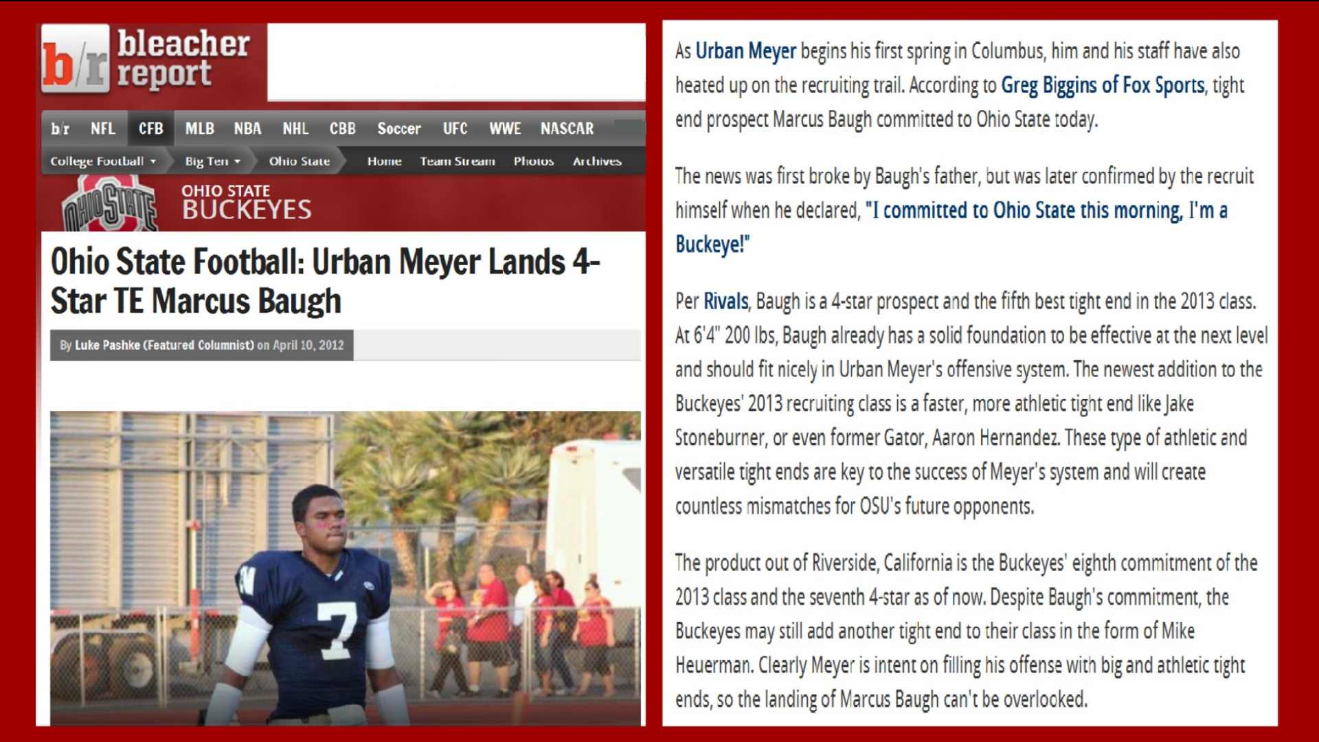 MARCUS BAUGH TE IS COMITTMENT #8 FOR 2013 BLEACHER REPORT - Ohio State ...