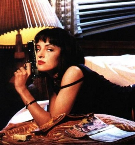 Pulp Fiction wallpaper possibly containing a lampshade entitled Mia Wallace