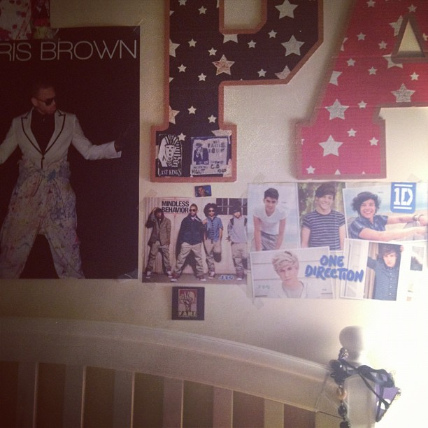Michael Jackson's daughter Paris Jackson's bedroom Posters of 1D, Chris Brown and Mindless Behaviour