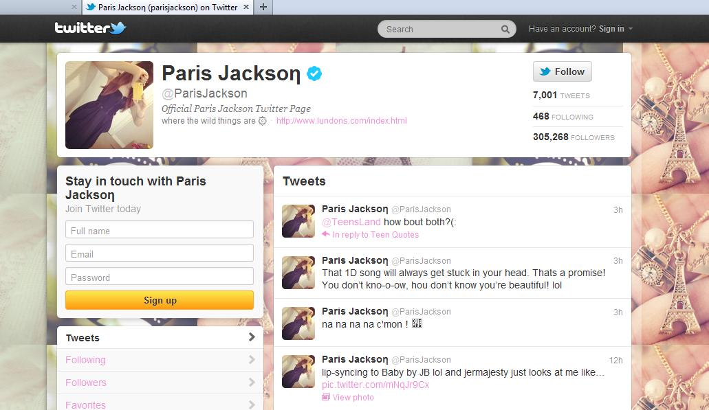 Michael Jackson's daughter Paris Jackson tweets about her favorito! One Direction Song :)