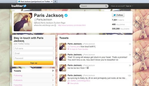 Michael Jackson's daughter Paris Jackson tweets about her favorite One Direction Song :)